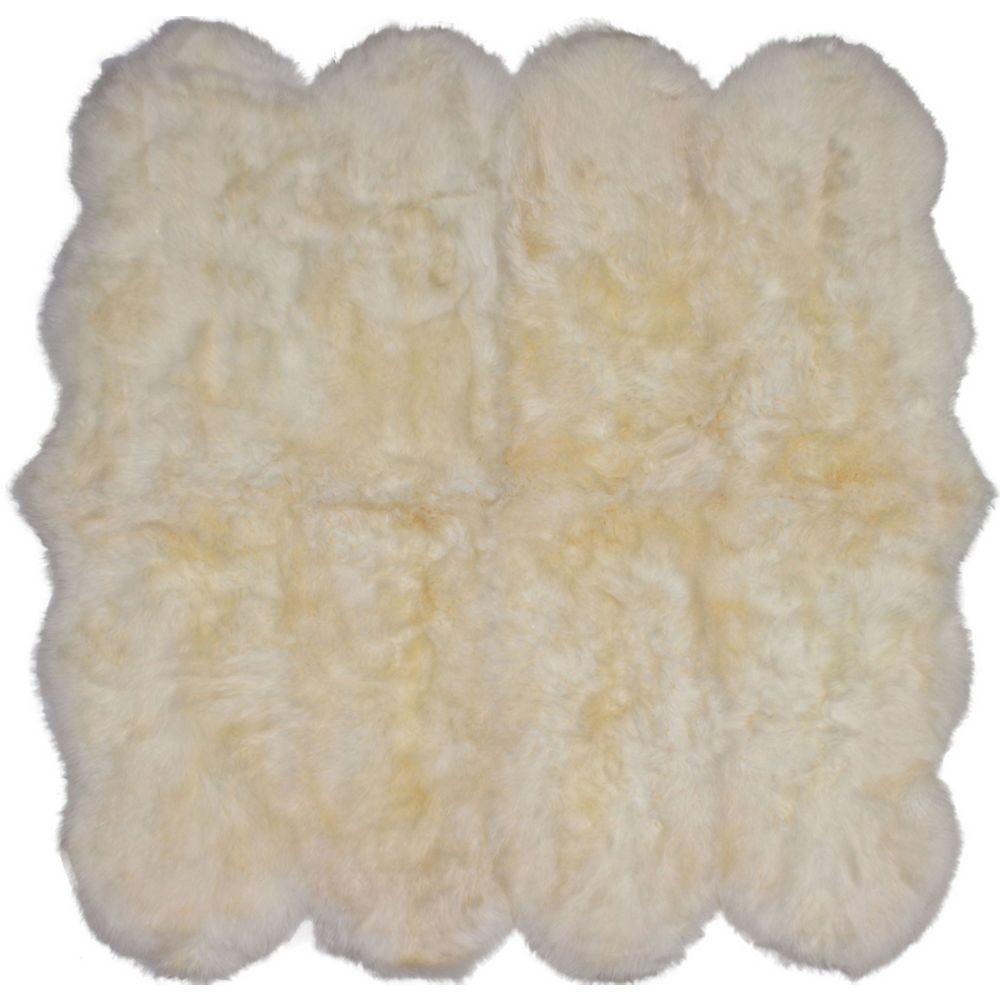 Torabi Rugs Luxurious Off-White 6 ft. x 6 ft. Indoor Contemporary Irregular Area Rug