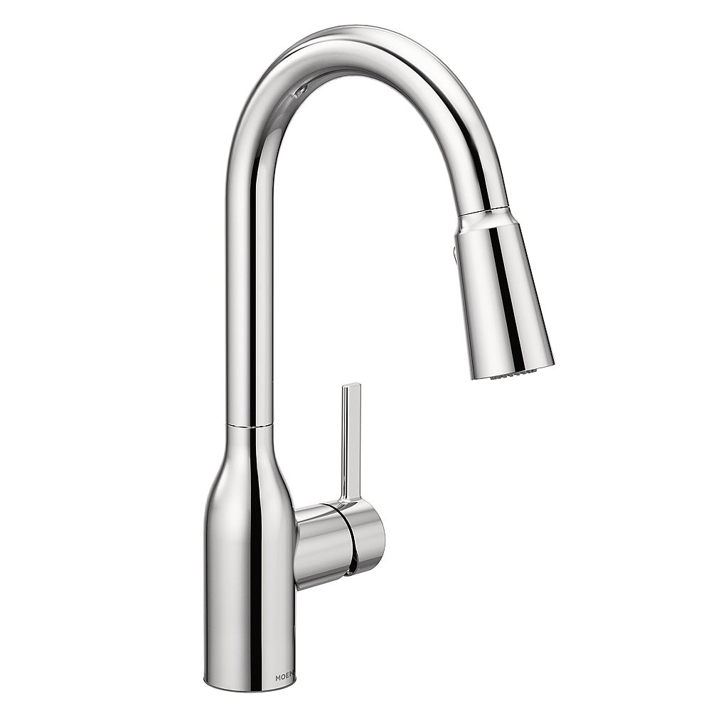 MOEN Tarvo Single-Handle Pull-down Sprayer Kitchen Faucet with AB1953/S152/HB372 in Chrome