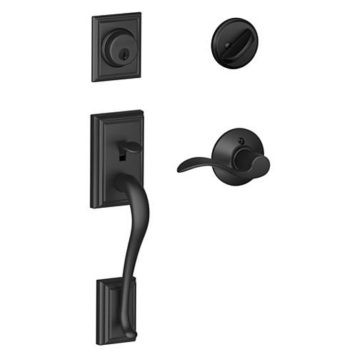 Schlage Addison Single Cylinder Handleset Accent Lever in Matte Black