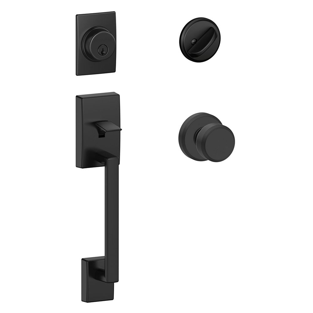 Schlage Century Matte Black Single CylinderEntry Door Handleset and Bowery/Greyson knob Rated AAA