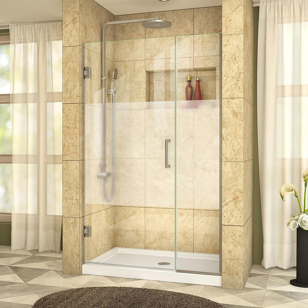 DreamLine Unidoor Plus 43-1/2 to 44-inch x 72-inch Semi-Frameless Hinged Shower Door with Half Frosted Glass in Brushed Nickel