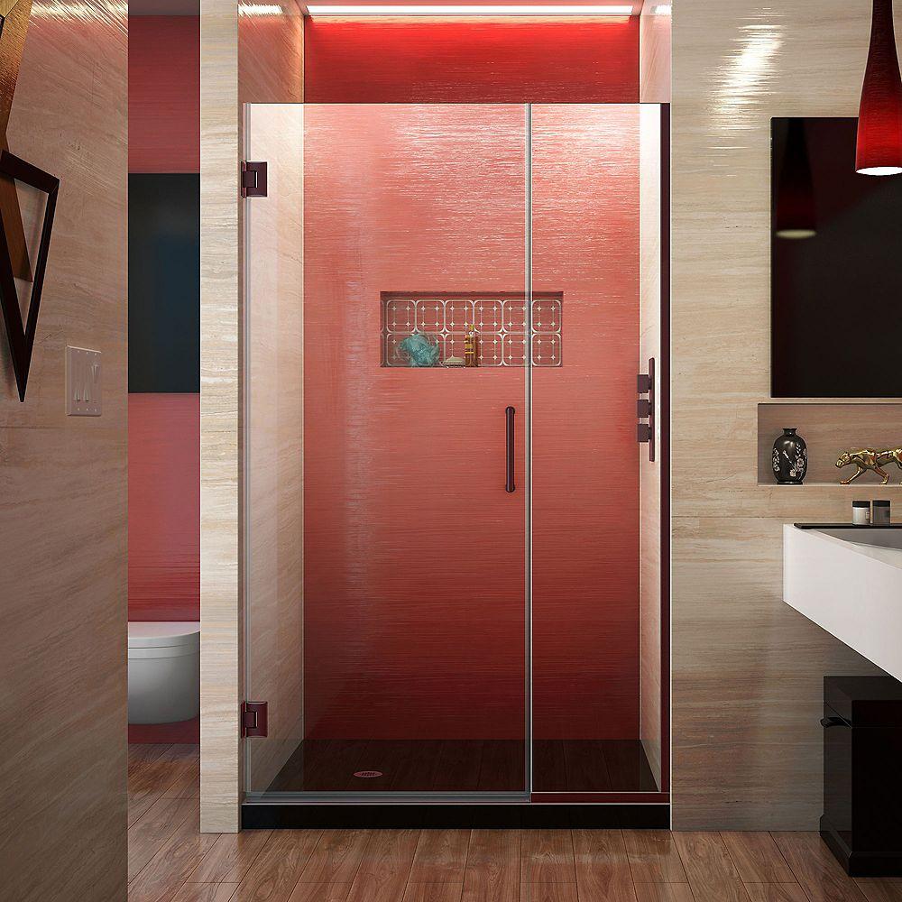 DreamLine Unidoor Plus 44-1/2 to 45-inch x 72-inch Semi-Frameless Pivot Shower Door with Hardware in Oil Rubbed Bronze with Handle