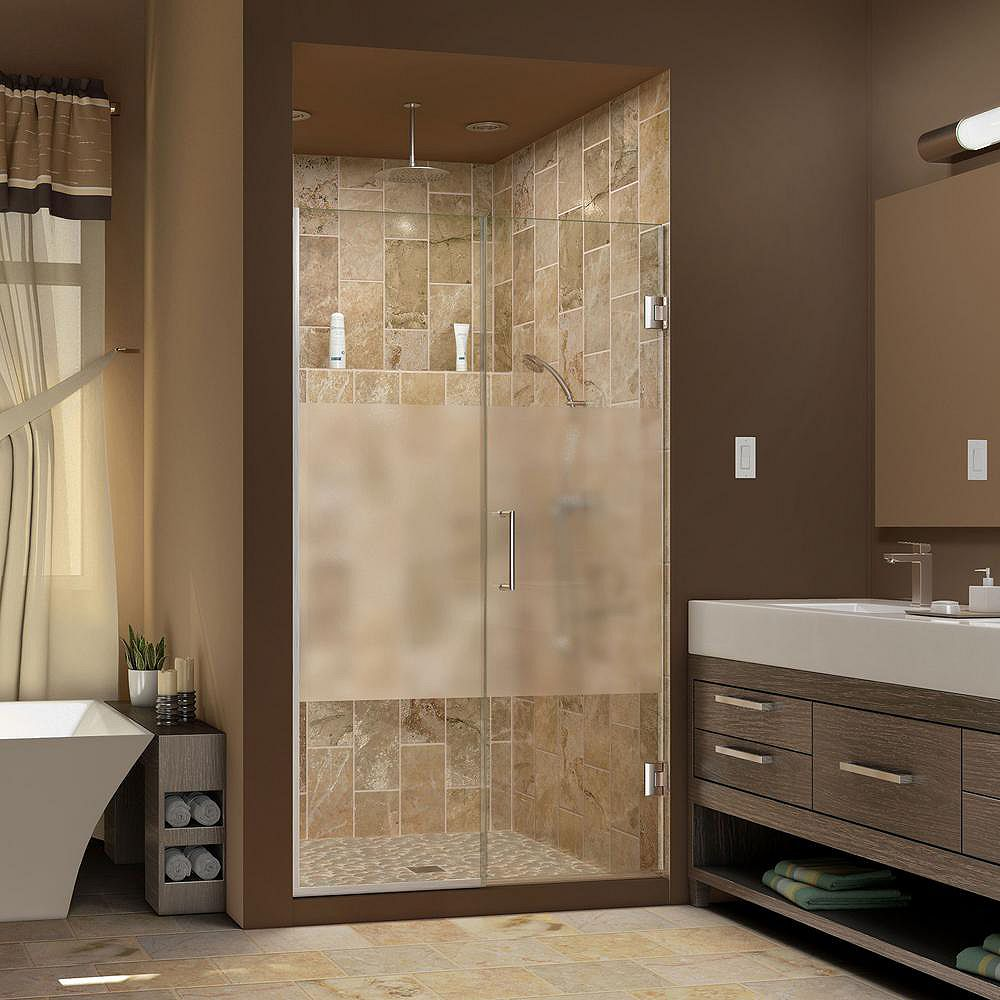 DreamLine Unidoor Plus 44-1/2 to 45-inch x 72-inch Semi-Frameless Hinged Shower Door with Half Frosted Glass in Brushed Nickel