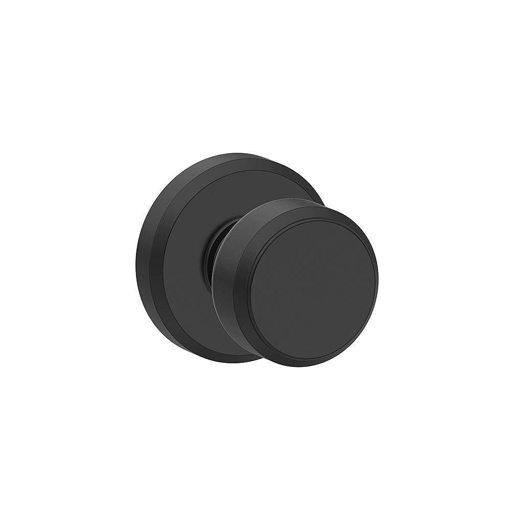 Schlage Bowery Matte Black Cylindrical Hall/Closet Passage Door Knob With Greyson Trim Rated AAA