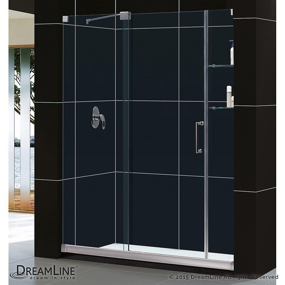 DreamLine DreamLine Mirage Porte de douche Coulissante Sans cadre Nickel Brossé et Base avec drain à gauche
