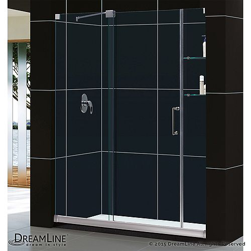 Mirage 32 in. x 60 in. x 74-3/4 in. Sliding Shower Door in Brushed Nickel with Right Hand Drain Base