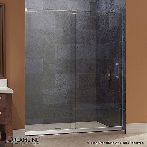 Mirage 34 in. x 60 in. x 74-3/4 in. Semi-Framed Sliding Shower Door in Chrome with Center Drain Base