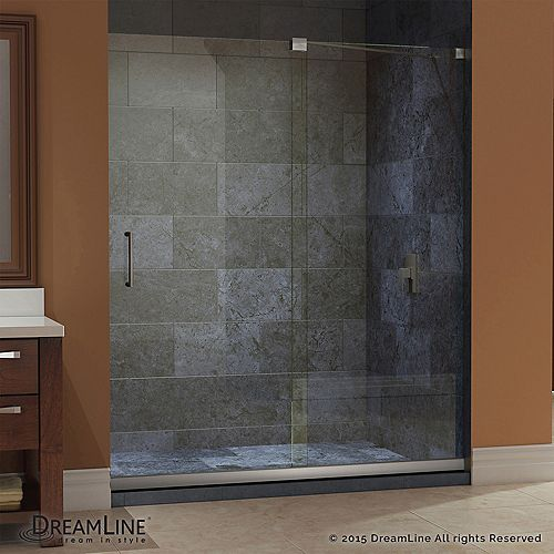 Mirage 34 in. x 60 in. x 74-3/4 in. Sliding Shower Door in Brushed Nickel with Center Drain Base