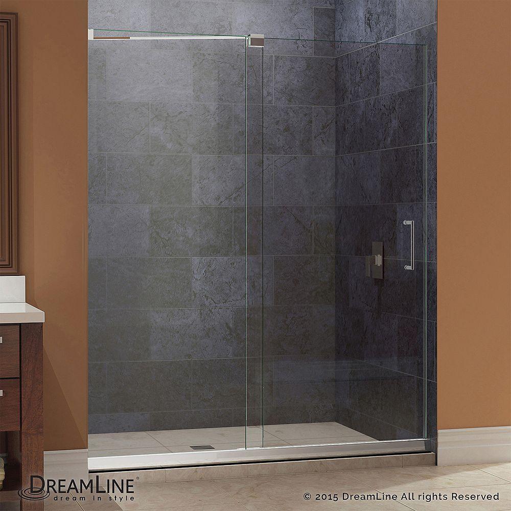 DreamLine Mirage 36 in. x 60 in. x 74-3/4 in. Semi-Framed Sliding Shower Door in Chrome with Center Drain Base
