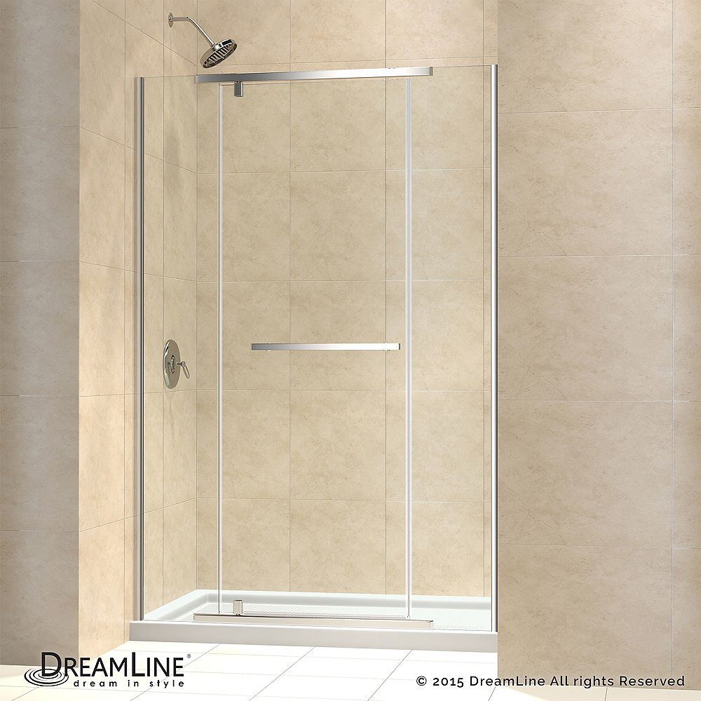 DreamLine Vitreo-X 32-inch x 60-inch x 74.75-inch Semi-Frameless Pivot Shower Door in Chrome with Center Drain White Acrylic Base