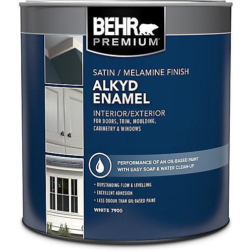 Interior/Exterior Alkyd Satin Enamel, Melamine Finish Paint - White Base, 946 Ml