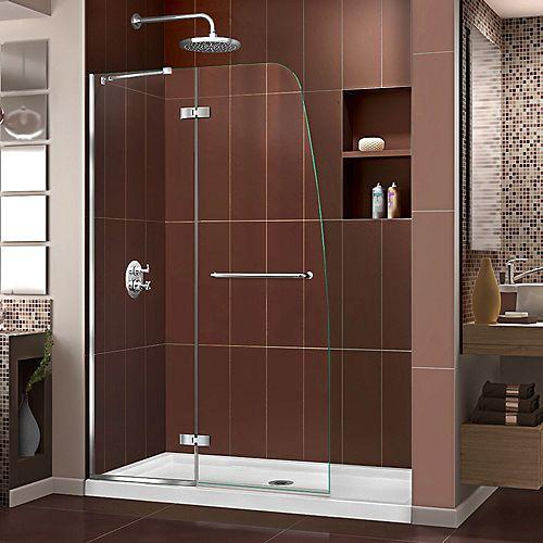Aqua Ultra 34-inch x 60-inch x 74.75-inch Semi-Frameless Hinged Shower Door in Chrome with Center Drain White Acrylic Base