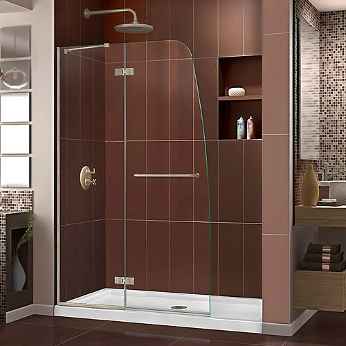 Aqua Ultra 34-inch x 60-inch x 74.75-inch Semi-Frameless Hinged Shower Door in Brushed Nickel with Center Drain Acrylic Base