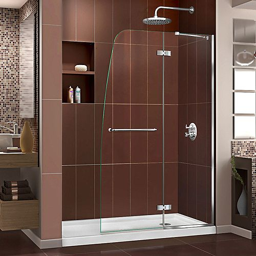 Aqua Ultra 34-inch x 60-inch x 74.75-inch Semi-Frameless Hinged Shower Door in Chrome with Right Drain Acrylic Base