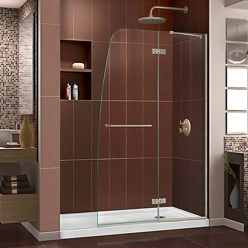 Aqua Ultra 34-inch x 60-inch x 74.75-inch Semi-Frameless Hinged Shower Door in Brushed Nickel with Right Drain Acrylic Base
