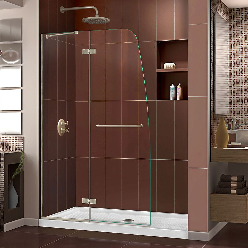 DreamLine Aqua Ultra 36-inch x 60-inch x 74.75-inch Semi-Frameless Hinged Shower Door in Brushed Nickel with Center Drain Acrylic Base