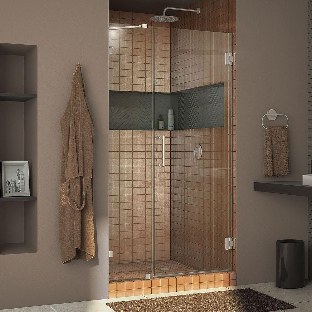 DreamLine DreamLine Unidoor Lux 94 cm x 183 cm Porte de douche Articulée Sans cadre, fini Nickel Brossé