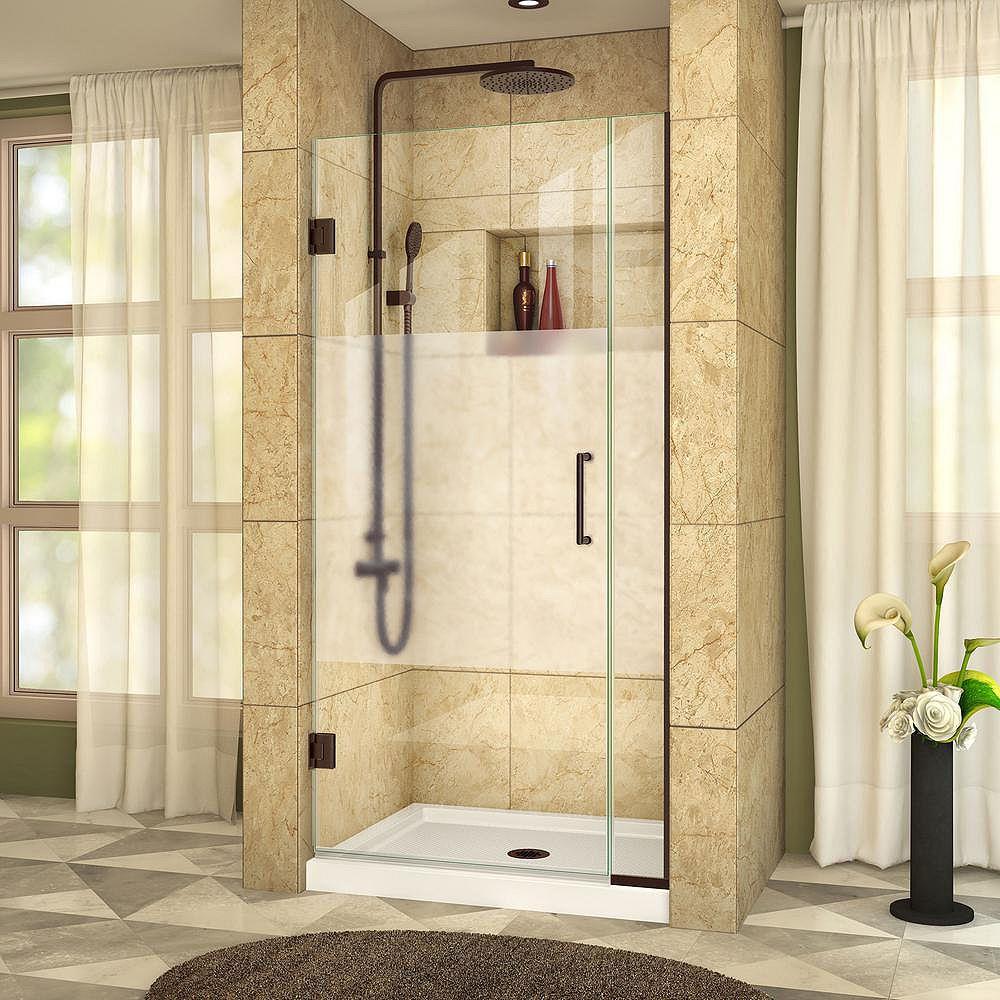DreamLine Unidoor Plus 31-inch to 31-1/2-inch x 72-inch Hinge Shower Door with Half Frosted Glass in Oil Rubbed Bronze