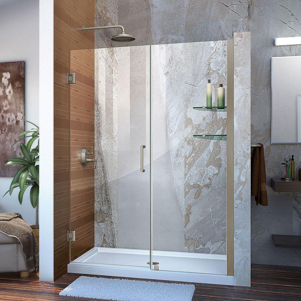 DreamLine Unidoor 48 to 49-inch x 72-inch Frameless Hinged Pivot Shower Door in Brushed Nickel with Handle
