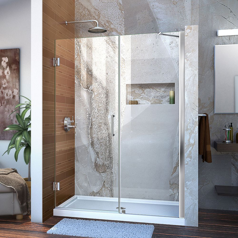 DreamLine Unidoor 49 to 50-inch x 72-inch Frameless Hinged Pivot Shower Door in Chrome with Handle