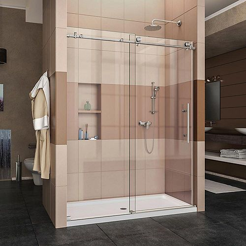 Enigma-X 30-inch x 60-inch x 78.75-inch Frameless Sliding Shower Door in Brushed Stainless Steel with Right Drain Base