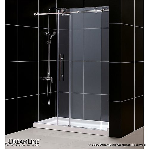 Enigma-X 32-inch x 60-inch x 78.75-inch Frameless Sliding Shower Door in Brushed Stainless Steel and Center Drain Base