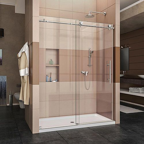 Enigma-X 32-inch x 60-inch x 78.75-inch Frameless Sliding Shower Door in Polished Stainless Steel and Center Drain Base