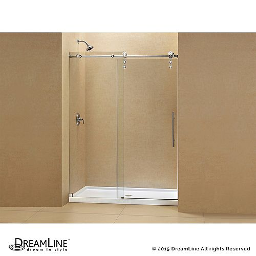 Enigma-Z 36-inch x 48-inch x 78.75-inch Frameless Sliding Shower Door in Polished Stainless Steel and Center Drain Base