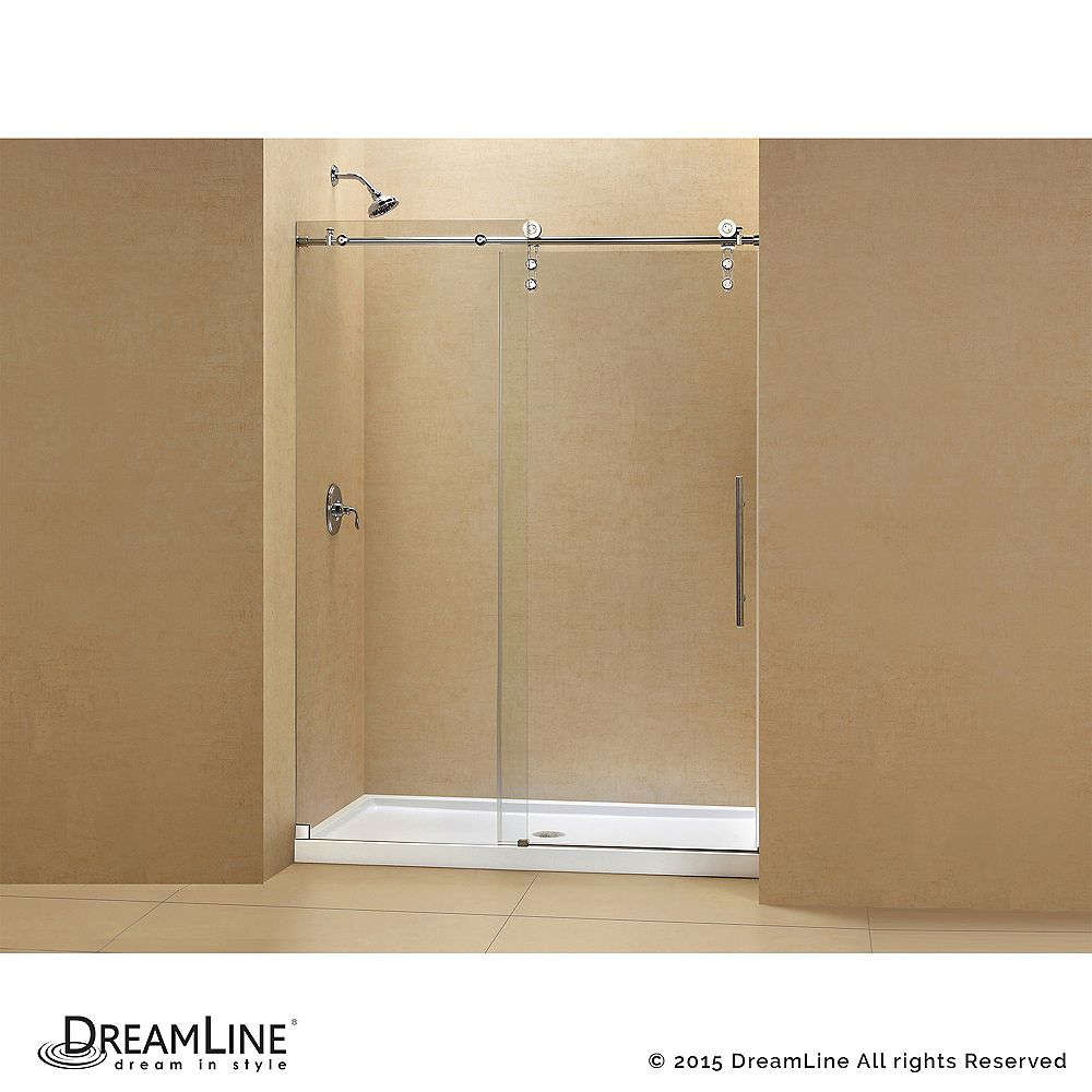 DreamLine Enigma-Z 30-inch x 60-inch x 78.75-inch Frameless Sliding Shower Door in Polished Stainless Steel with Left Drain Base