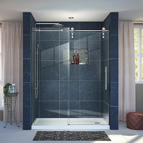 Enigma-Z 36-inch x 60-inch x 78.75-inch Frameless Sliding Shower Door in Polished Stainless Steel and Right Drain Base