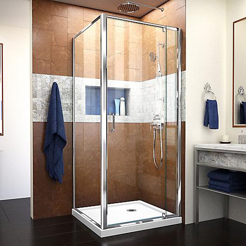 DreamLine Flex 81 x 190 cm Porte de douche Pivot Sans cadre fini Chrome et Base de douche Blanc