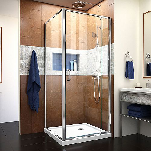 Flex 32-inch x 32-inch x 74.75-inch Corner Framed Pivot Shower Enclosure in Chrome with White Acrylic Base