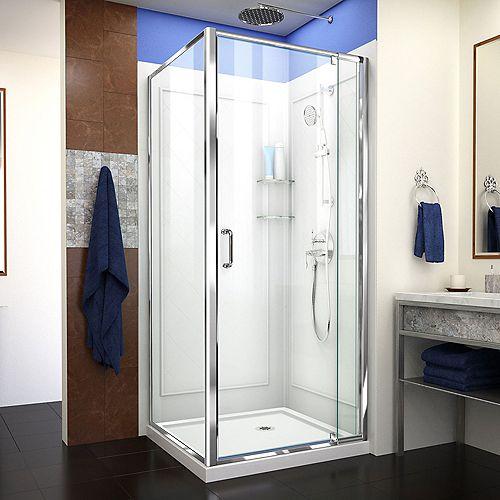 DreamLine Flex 36-inch x 36-inch x 76.75-inch Framed Corner Shower Kit in Chrome with Shower Base in White