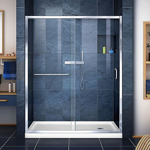 Infinity-Z 34-inch x 60-inch x 74.75-inch Framed Sliding Shower Door in Chrome with Right Drain White Acrylic Base