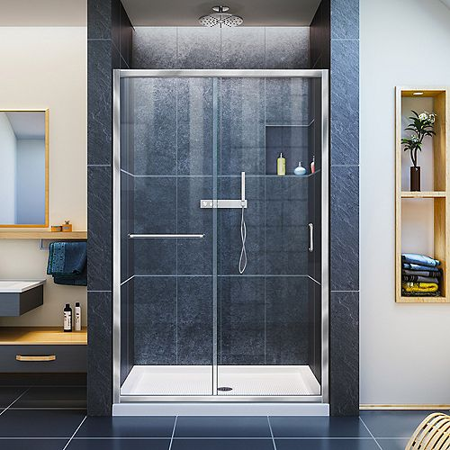Infinity-Z 36-inch x 48-inch x 74.75-inch Framed Sliding Shower Door in Chrome with Center Drain White Acrylic Base