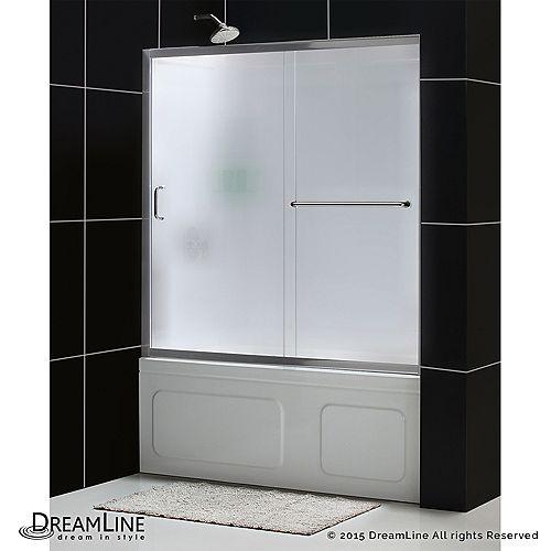 DreamLine Infinity-Z 152 x 152cm Porte de baignoire Sans cadre Nickel Brossé et Parois arrière Blanc