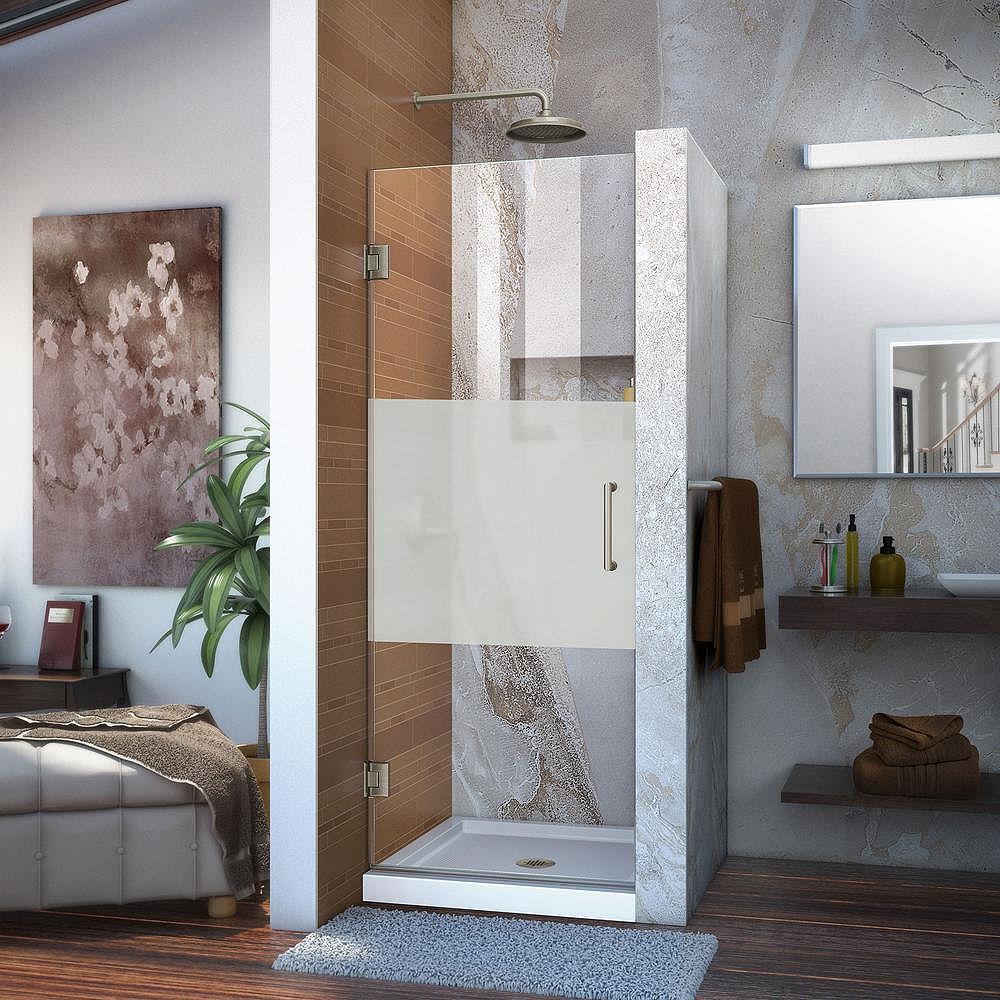 DreamLine Unidoor 28-inch x 72-inch Frameless Hinged Pivot Shower Door in Brushed Nickel with Handle