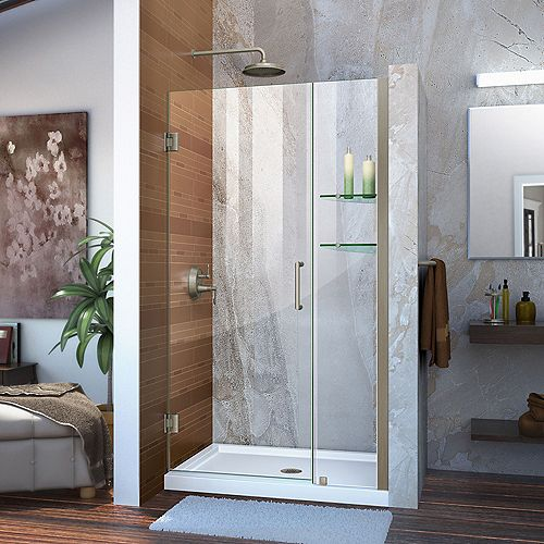 DreamLine Unidoor 36 to 37-inch x 72-inch Frameless Hinged Pivot Shower Door in Brushed Nickel with Handle