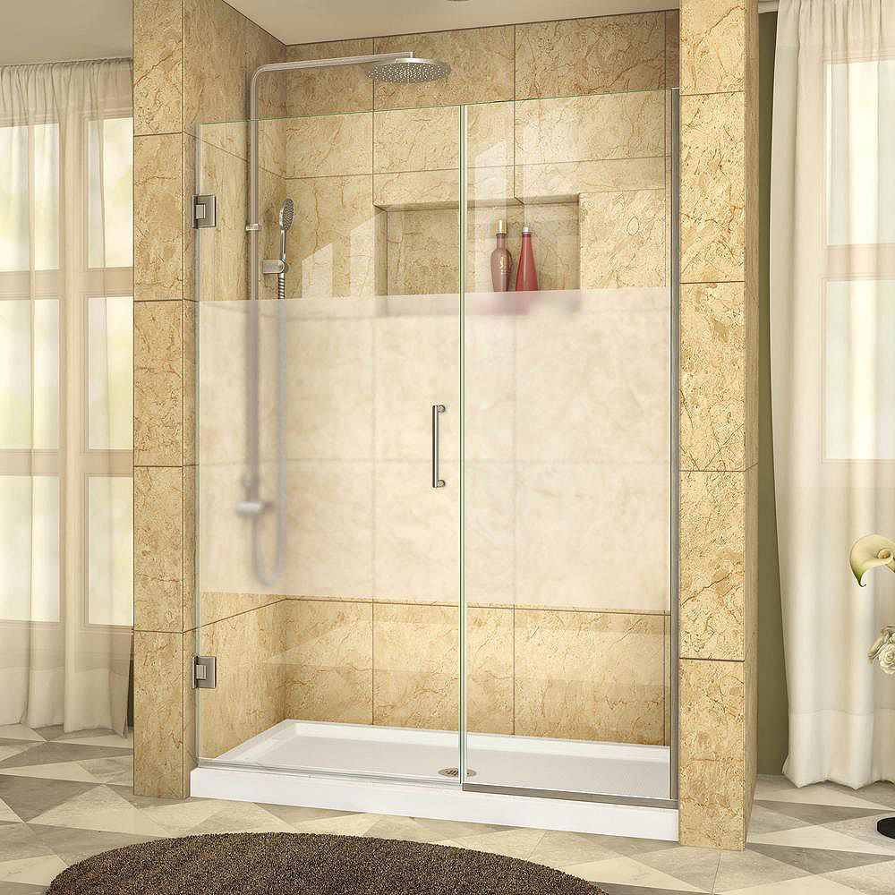 DreamLine Unidoor Plus 45-1/2 to 46-inch x 72-inch Semi-Frameless Hinged Shower Door with Half Frosted Glass in Brushed Nickel