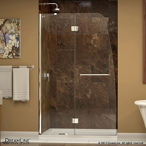 Aqua 32  Inch  X 60  Inch  X 74-3/4  Inch  Semi-Framed Hinged Shower Door In Chrome With Left Hand Drain Base