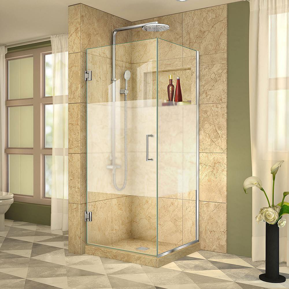 DreamLine Unidoor Plus 30-3/8-inch x 30-inch x 72-inch Hinged Shower Enclosure with Half Frosted Glass Door in Chrome