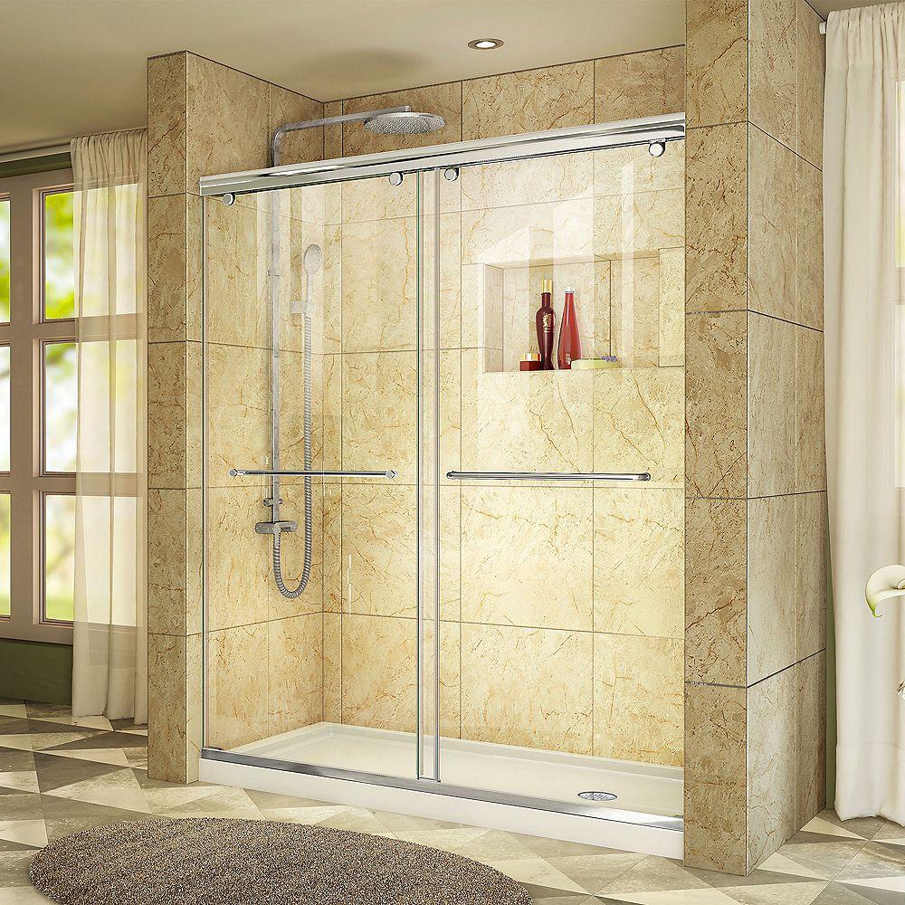 DreamLine Charisma 30-inch x 60-inch x 78.75-inch Semi-Frameless Sliding Shower Door in Chrome and Right Drain White Acrylic Base