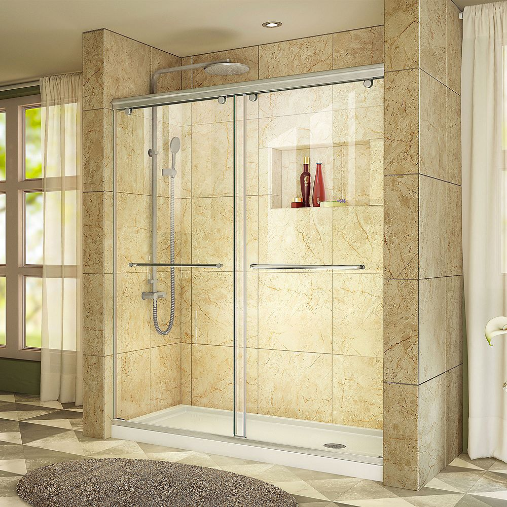 DreamLine Charisma 30-inch x 60-inch x 78.75-inch Semi-Frameless Sliding Shower Door in Brushed Nickel with Right Drain Acrylic Base