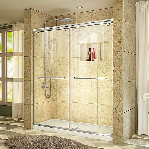 DreamLine Charisma 34-inch x 60-inch x 78.75-inch Semi-Frameless Sliding Shower Door in Chrome with Center Drain White Acrylic Base
