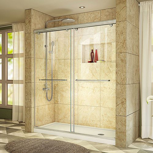 Charisma 34-inch x 60-inch x 78.75-inch Semi-Frameless Sliding Shower Door in Brushed Nickel with Right Drain Acrylic Base