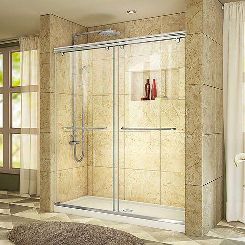 DreamLine Charisma 36-inch x 60-inch x 78.75-inch Semi-Frameless Sliding Shower Door in Chrome with Center Drain White Acrylic Base