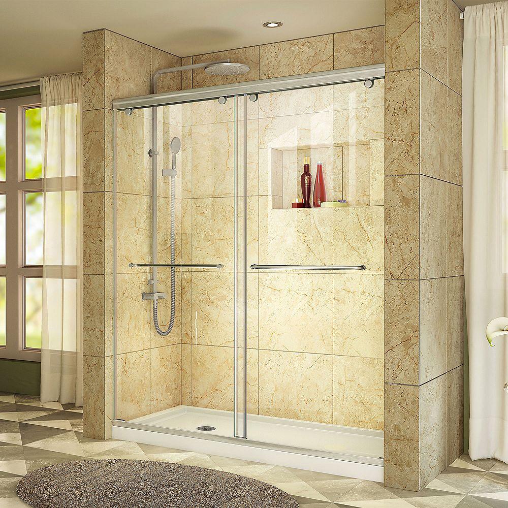 DreamLine DreamLine Charisma Porte de douche Coulissante Sans cadre Nickel Brossé et Base avec drain à gauche