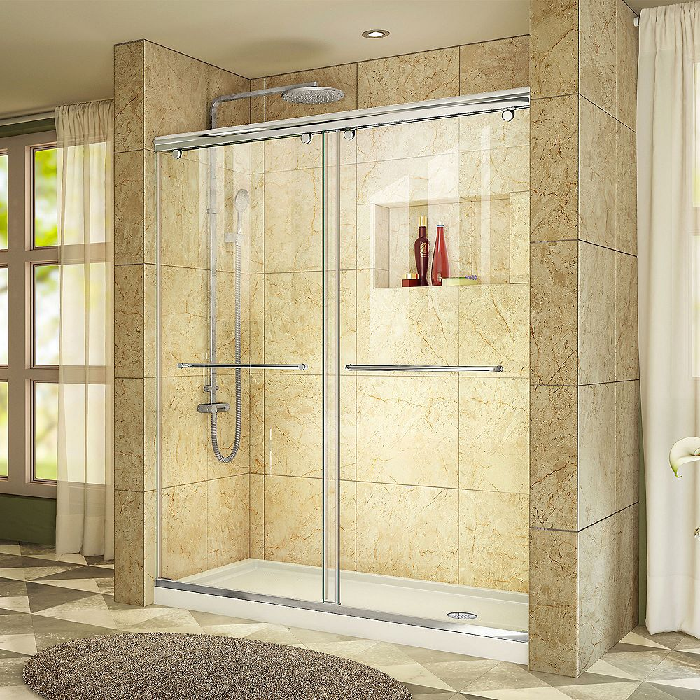 DreamLine Charisma 36-inch x 60-inch x 78.75-inch Semi-Frameless Sliding Shower Door in Chrome and Right Drain White Acrylic Base