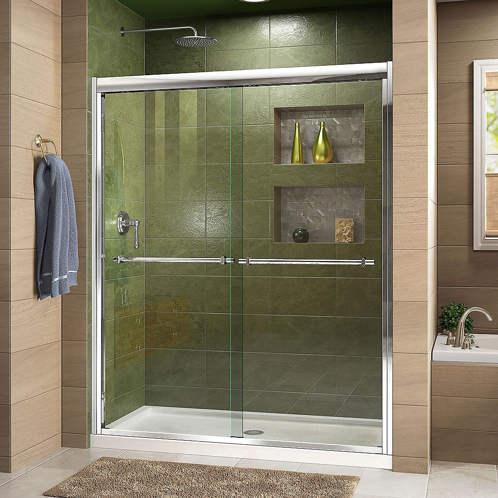 DreamLine Duet 30-inch D x 60-inch W x 74.75-inch H Framed Sliding Shower Door in Chrome with Center Drain White Acrylic Base