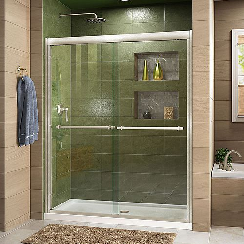 Duet 30-inch D x 60-inch W x 74.75-inch H Framed Sliding Shower Door in Brushed Nickel and Center Drain White Acrylic Base
